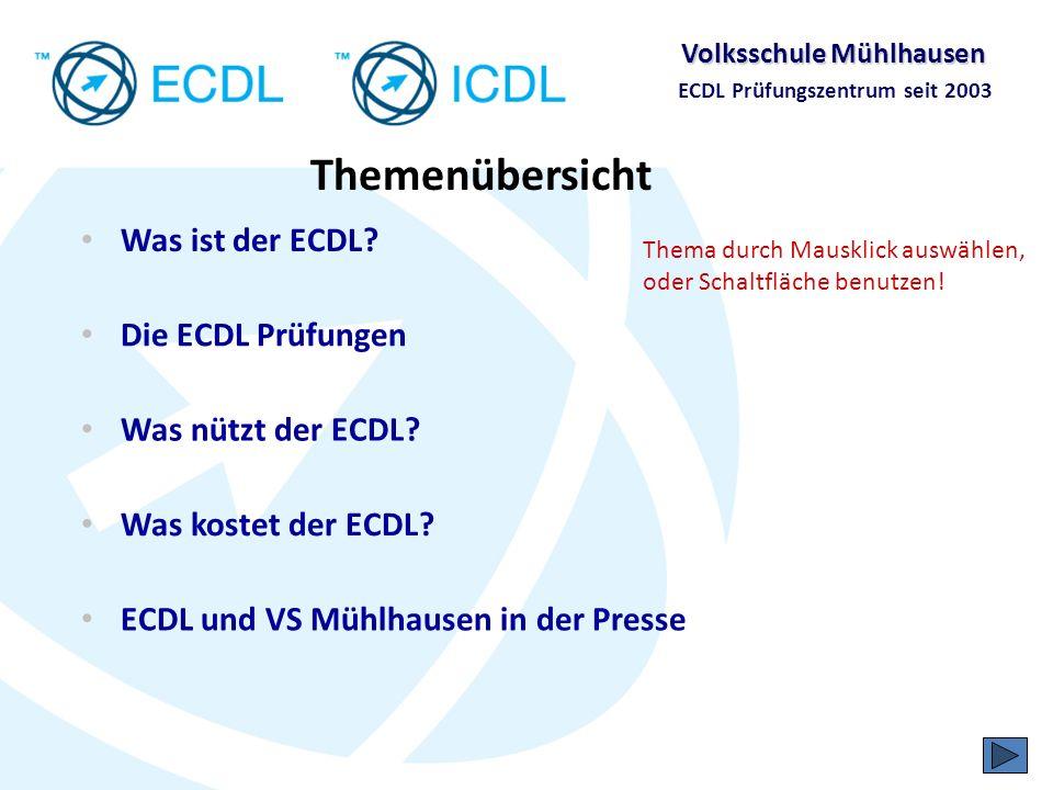 Volksschule Mühlhausen ECDL Prüfungszentrum seit 2003 Was ist der ECDL?