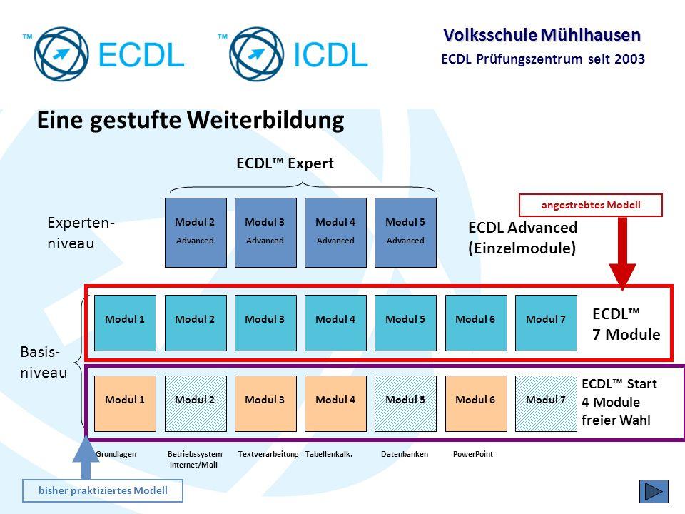 Volksschule Mühlhausen ECDL Prüfungszentrum seit 2003 Das Zertifikat