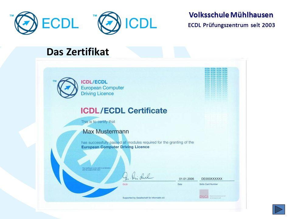 Volksschule Mühlhausen ECDL Prüfungszentrum seit 2003 Die ECDL Prüfungen