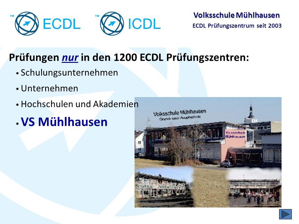 Volksschule Mühlhausen ECDL Prüfungszentrum seit 2003 Unter Aufsicht als Online-Prüfung im PC- Schulungsraum Die ECDL-Prüfungen Objektive Auswertung der Prüfung durch Prüfungssystem, kein Auswerteaufwand –> valide Ergebnis steht direkt nach Testende bereit