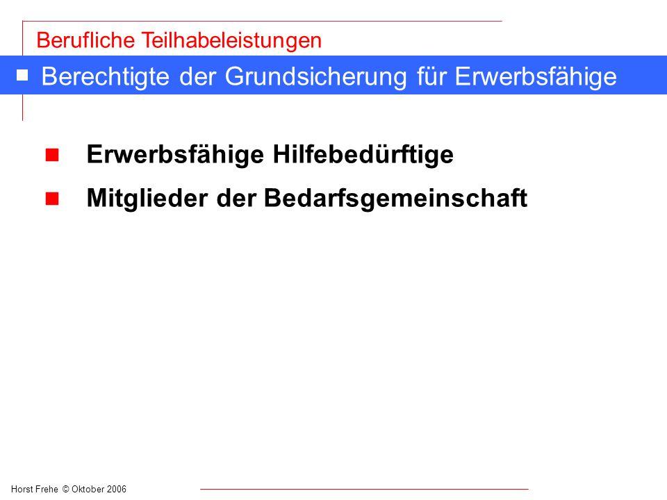 Horst Frehe © Oktober 2006 Berufliche Teilhabeleistungen Berechtigte der Grundsicherung für Erwerbsfähige n Erwerbsfähige Hilfebedürftige n Mitglieder