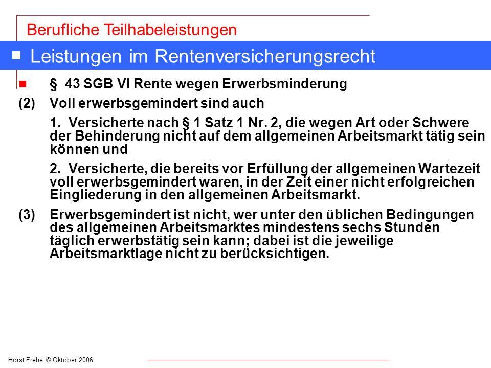 Horst Frehe © Oktober 2006 Berufliche Teilhabeleistungen Leistungen im Rentenversicherungsrecht n § 43 SGB VI Rente wegen Erwerbsminderung (2)Voll erw