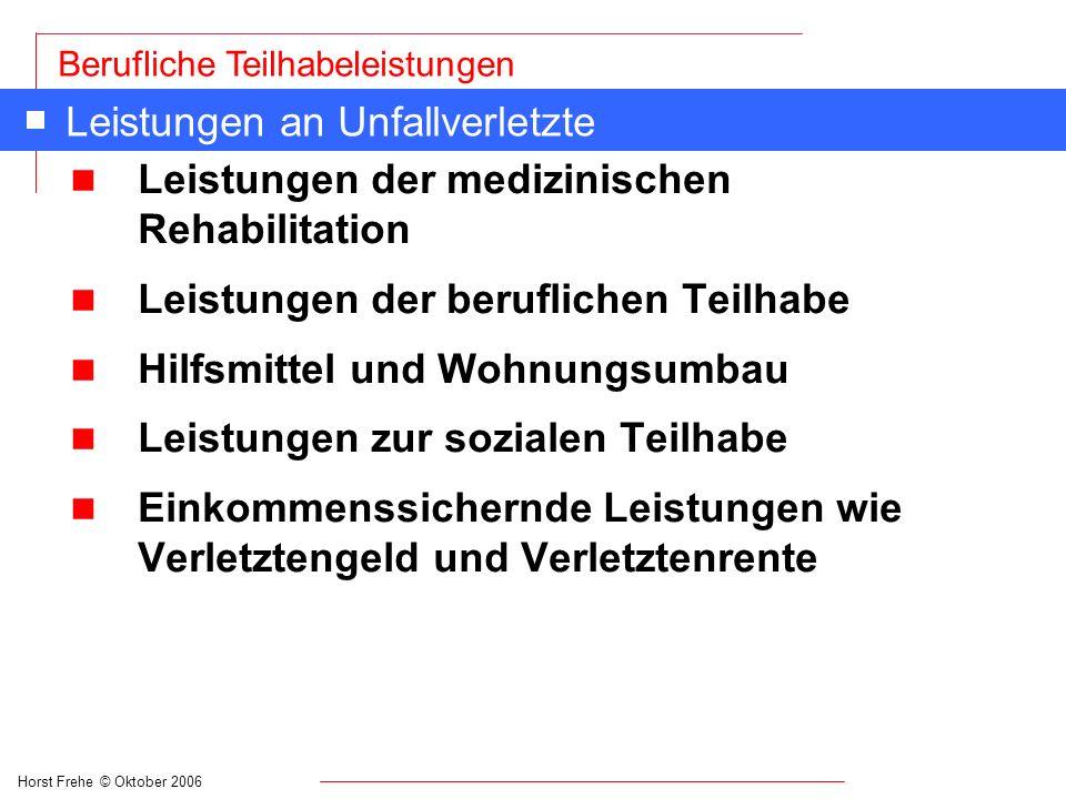 Horst Frehe © Oktober 2006 Berufliche Teilhabeleistungen Leistungen an Unfallverletzte n Leistungen der medizinischen Rehabilitation n Leistungen der