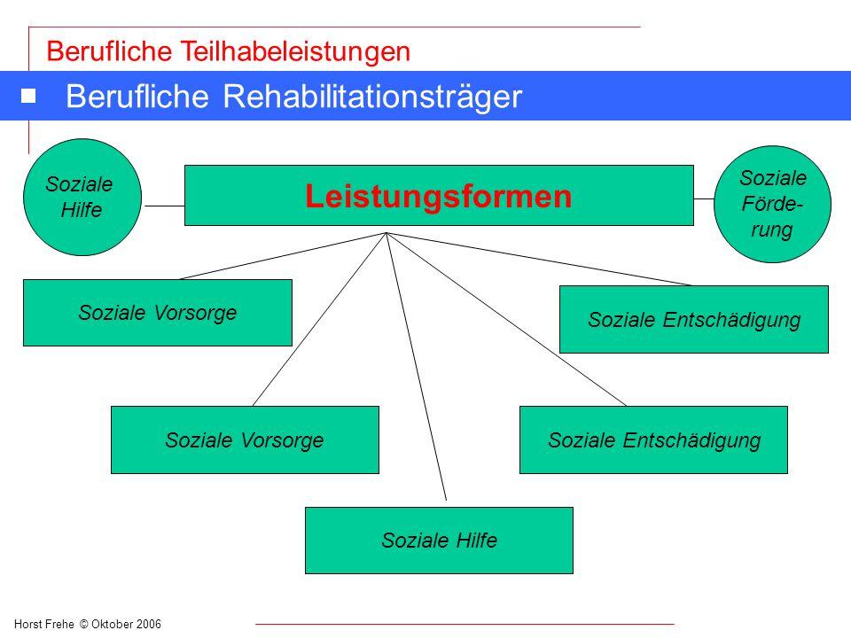 Horst Frehe © Oktober 2006 Berufliche Teilhabeleistungen Leistungsformen Soziale Vorsorge Soziale Hilfe Soziale Entschädigung Soziale Förde- rung Beru