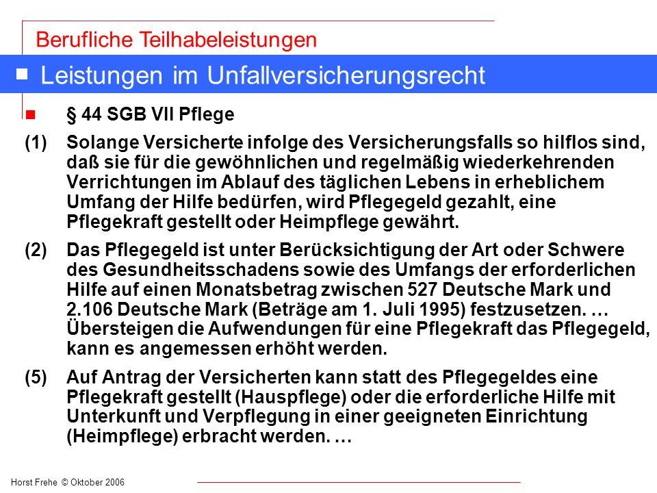 Horst Frehe © Oktober 2006 Berufliche Teilhabeleistungen Leistungen im Unfallversicherungsrecht n § 44 SGB VII Pflege (1) Solange Versicherte infolge