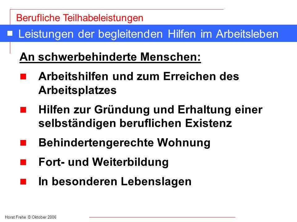 Horst Frehe © Oktober 2006 Berufliche Teilhabeleistungen Leistungen der begleitenden Hilfen im Arbeitsleben An schwerbehinderte Menschen: n Arbeitshil