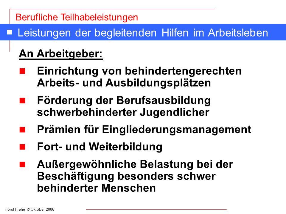 Horst Frehe © Oktober 2006 Berufliche Teilhabeleistungen Leistungen der begleitenden Hilfen im Arbeitsleben An Arbeitgeber: n Einrichtung von behinder