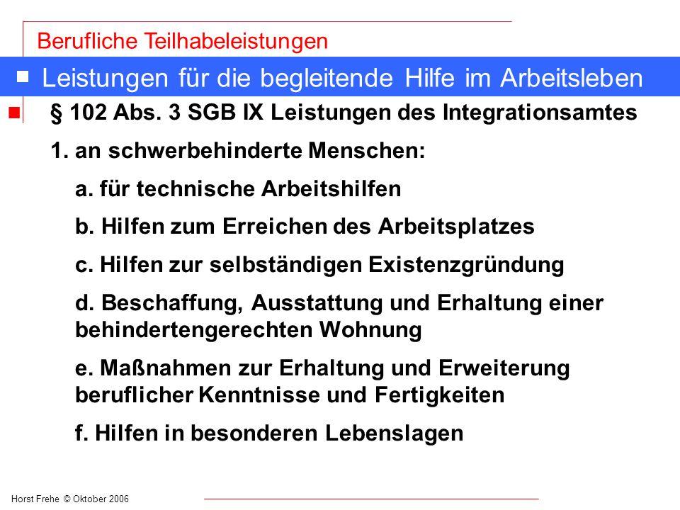 Horst Frehe © Oktober 2006 Berufliche Teilhabeleistungen Leistungen für die begleitende Hilfe im Arbeitsleben n § 102 Abs. 3 SGB IX Leistungen des Int