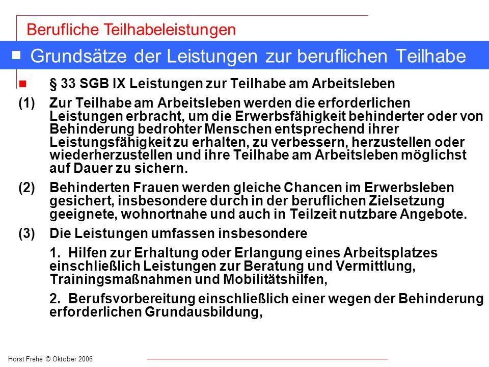 Horst Frehe © Oktober 2006 Berufliche Teilhabeleistungen Grundsätze der Leistungen zur beruflichen Teilhabe n § 33 SGB IX Leistungen zur Teilhabe am A