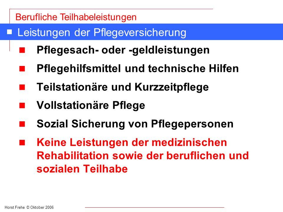 Horst Frehe © Oktober 2006 Berufliche Teilhabeleistungen Leistungen der Pflegeversicherung n Pflegesach- oder -geldleistungen n Pflegehilfsmittel und