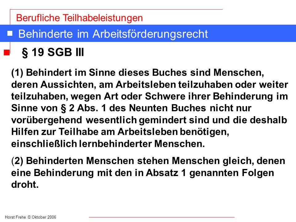 Horst Frehe © Oktober 2006 Berufliche Teilhabeleistungen Leistungen im Rehabilitations- und Teilhaberecht n § 33 SGB IX Leistungen zur Teilhabe am Arbeitsleben (7) Zu den Leistungen gehört auch die Übernahme 1.