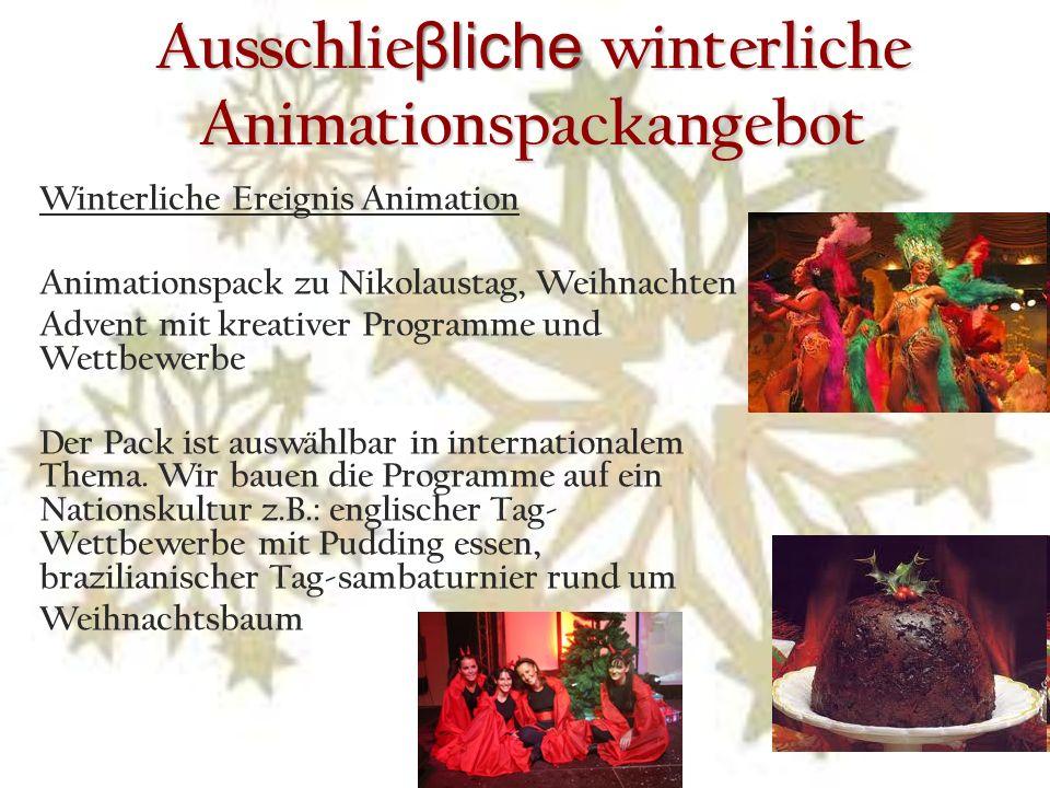 Ausschlie βliche winterliche Animationspackangebot Winterliche Ereignis Animation Animationspack zu Nikolaustag, Weihnachten Advent mit kreativer Programme und Wettbewerbe Der Pack ist auswählbar in internationalem Thema.