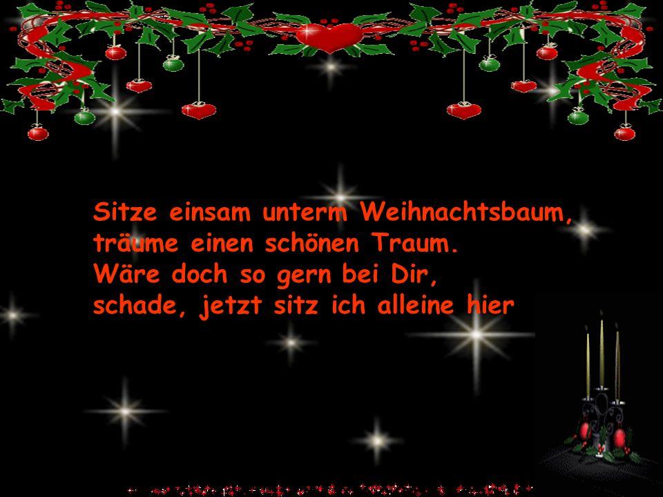 Sitze einsam unterm Weihnachtsbaum, träume einen schönen Traum. Wäre doch so gern bei Dir, schade, jetzt sitz ich alleine hier