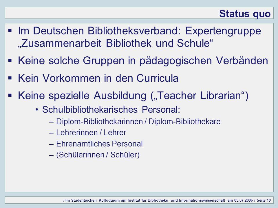 / Im Studentischen Kolloquium am Institut für Bibliotheks- und Informationswissenschaft am 05.07.2006 / Seite 10 Status quo Im Deutschen Bibliotheksve