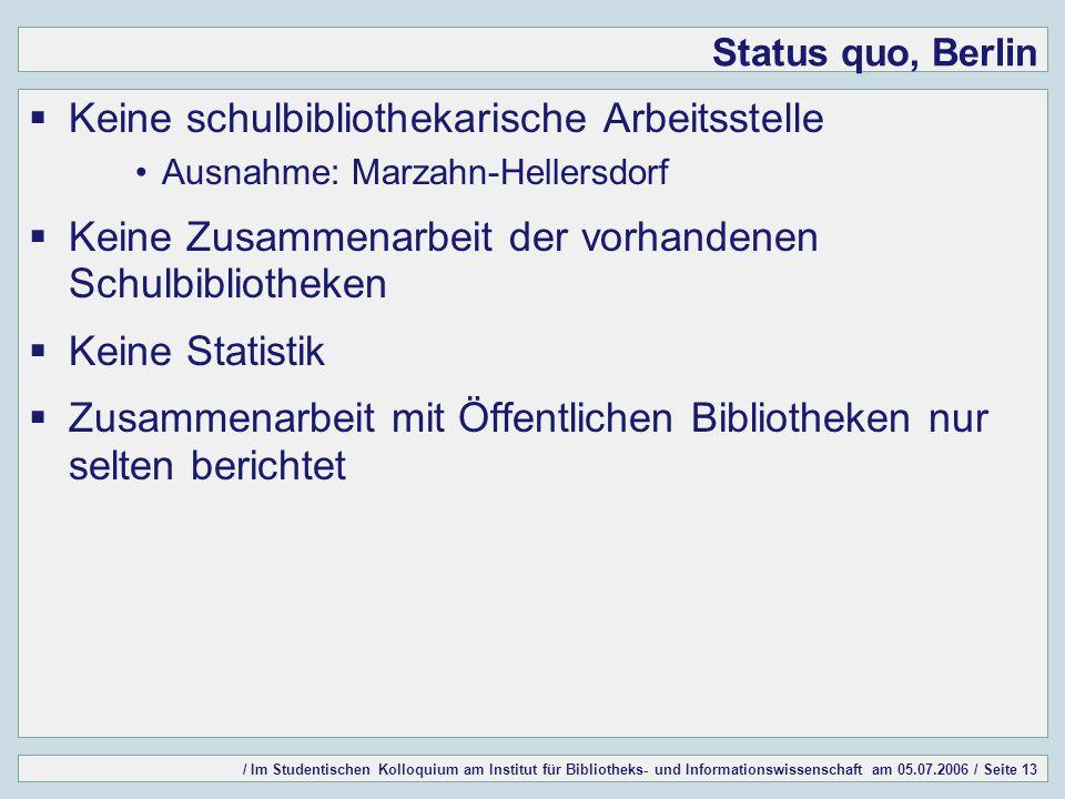 / Im Studentischen Kolloquium am Institut für Bibliotheks- und Informationswissenschaft am 05.07.2006 / Seite 13 Status quo, Berlin Keine schulbibliot