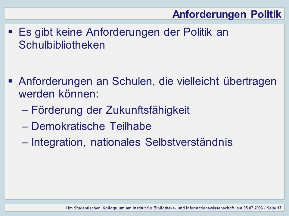 / Im Studentischen Kolloquium am Institut für Bibliotheks- und Informationswissenschaft am 05.07.2006 / Seite 17 Anforderungen Politik Es gibt keine A