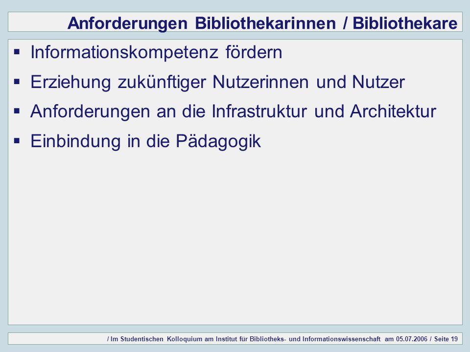 / Im Studentischen Kolloquium am Institut für Bibliotheks- und Informationswissenschaft am 05.07.2006 / Seite 19 Anforderungen Bibliothekarinnen / Bibliothekare Informationskompetenz fördern Erziehung zukünftiger Nutzerinnen und Nutzer Anforderungen an die Infrastruktur und Architektur Einbindung in die Pädagogik