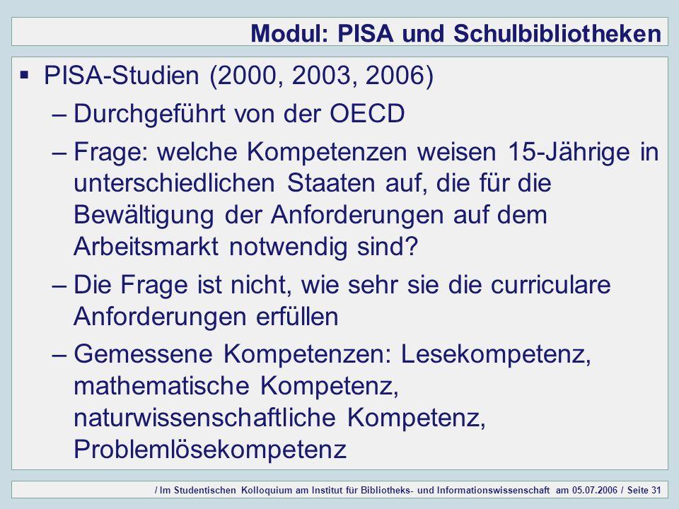 / Im Studentischen Kolloquium am Institut für Bibliotheks- und Informationswissenschaft am 05.07.2006 / Seite 31 Modul: PISA und Schulbibliotheken PISA-Studien (2000, 2003, 2006) –Durchgeführt von der OECD –Frage: welche Kompetenzen weisen 15-Jährige in unterschiedlichen Staaten auf, die für die Bewältigung der Anforderungen auf dem Arbeitsmarkt notwendig sind.