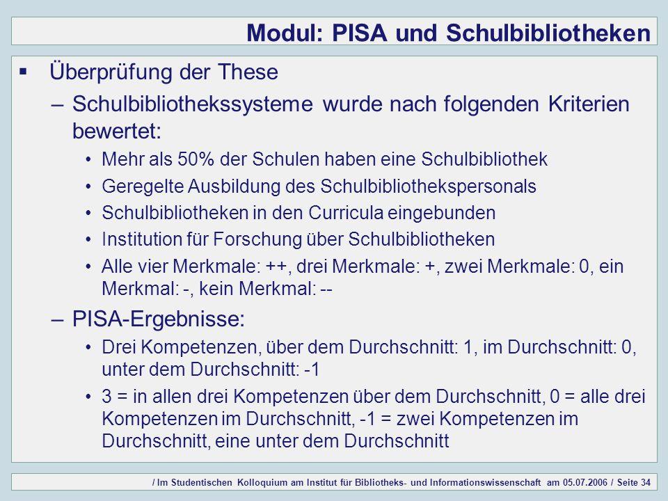 / Im Studentischen Kolloquium am Institut für Bibliotheks- und Informationswissenschaft am 05.07.2006 / Seite 34 Modul: PISA und Schulbibliotheken Übe