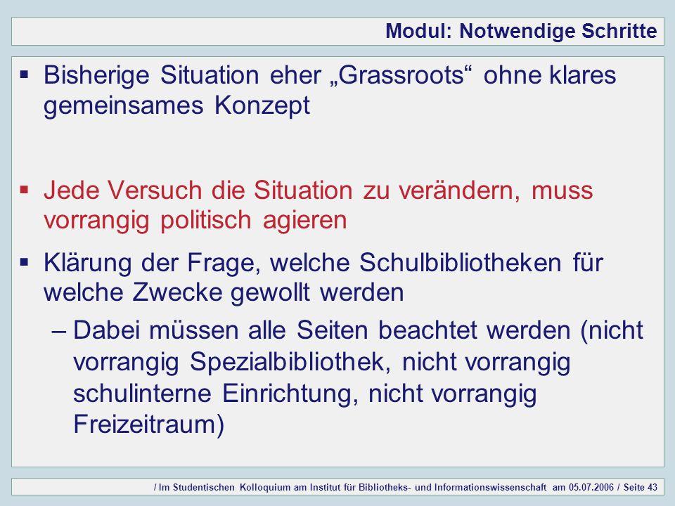 / Im Studentischen Kolloquium am Institut für Bibliotheks- und Informationswissenschaft am 05.07.2006 / Seite 43 Modul: Notwendige Schritte Bisherige