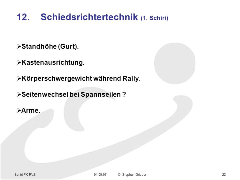 Schiri FK RVZ04.09.07© Stephan Grieder22 12.Schiedsrichtertechnik (1. Schiri) Standhöhe (Gurt). Kastenausrichtung. Körperschwergewicht während Rally.