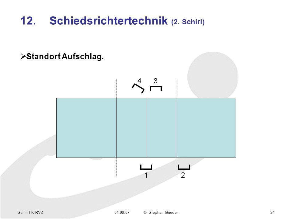 Schiri FK RVZ04.09.07© Stephan Grieder24 12.Schiedsrichtertechnik (2. Schiri) Standort Aufschlag. 1 34 2