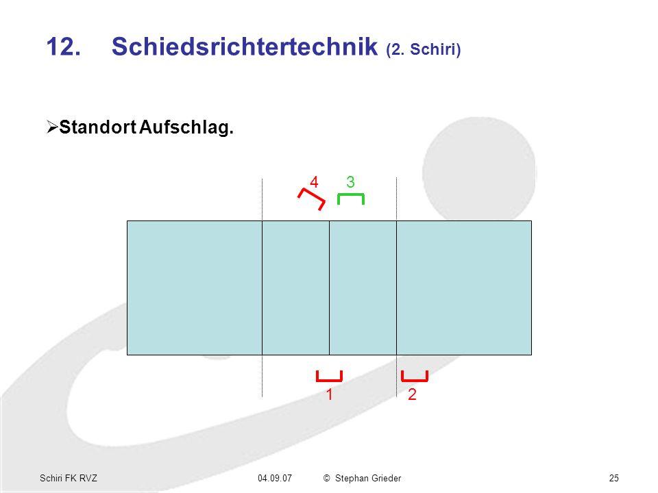 Schiri FK RVZ04.09.07© Stephan Grieder25 12.Schiedsrichtertechnik (2. Schiri) Standort Aufschlag. 1 34 2