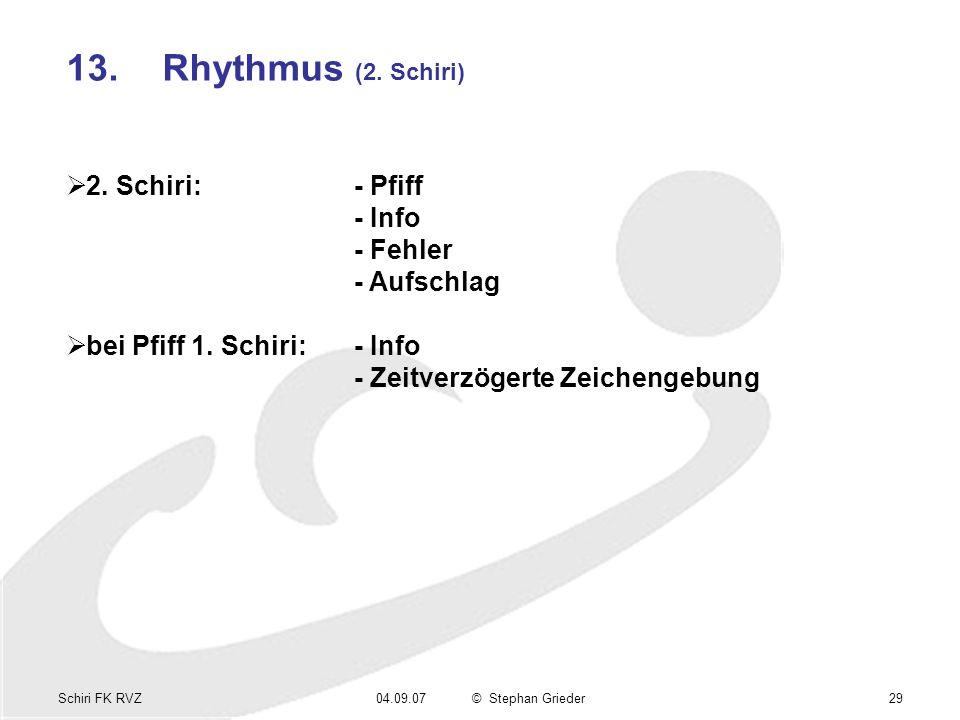 Schiri FK RVZ04.09.07© Stephan Grieder29 13.Rhythmus (2. Schiri) 2. Schiri:- Pfiff - Info - Fehler - Aufschlag bei Pfiff 1. Schiri:- Info - Zeitverzög