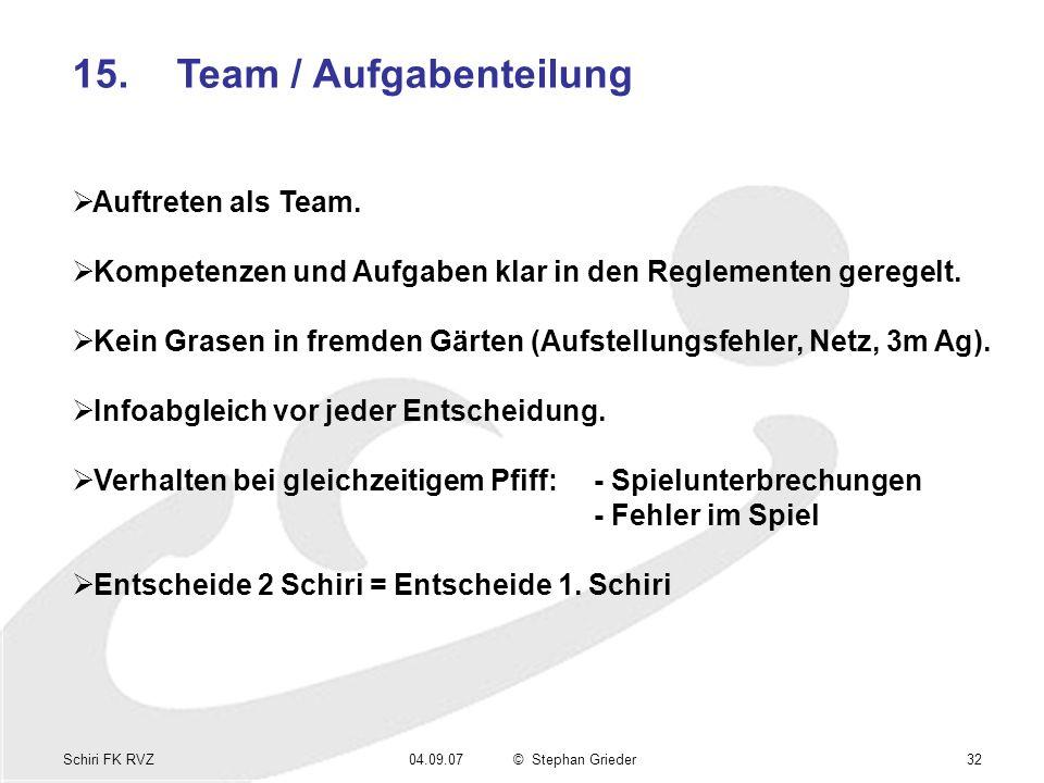 Schiri FK RVZ04.09.07© Stephan Grieder32 15.Team / Aufgabenteilung Auftreten als Team. Kompetenzen und Aufgaben klar in den Reglementen geregelt. Kein