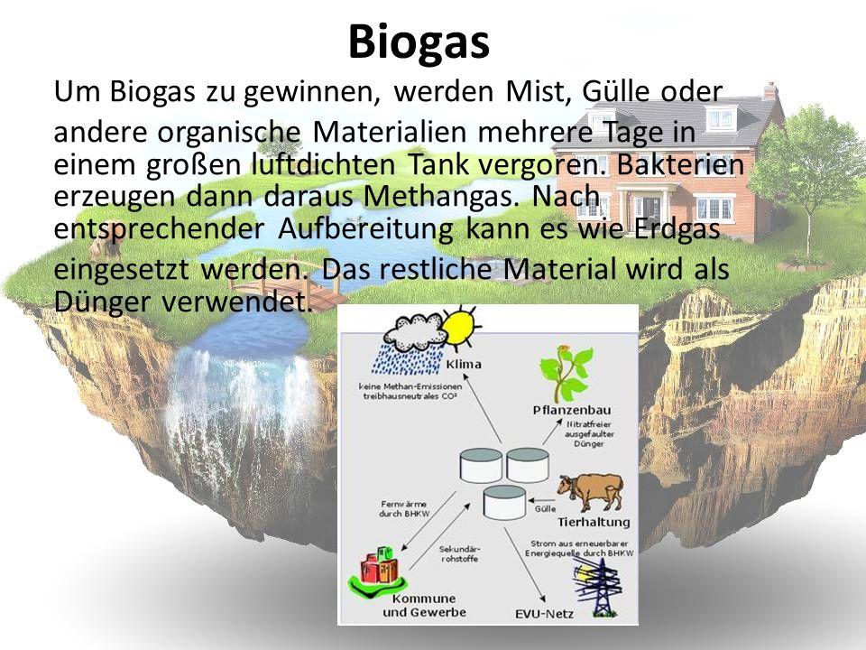 Biogas Um Biogas zu gewinnen, werden Mist, Gülle oder andere organische Materialien mehrere Tage in einem großen luftdichten Tank vergoren. Bakterien