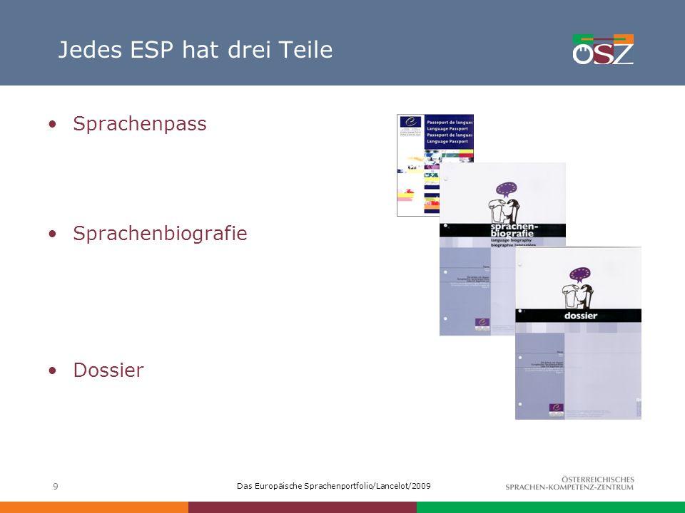 Das Europäische Sprachenportfolio/Lancelot/2009 9 Jedes ESP hat drei Teile Sprachenpass Sprachenbiografie Dossier