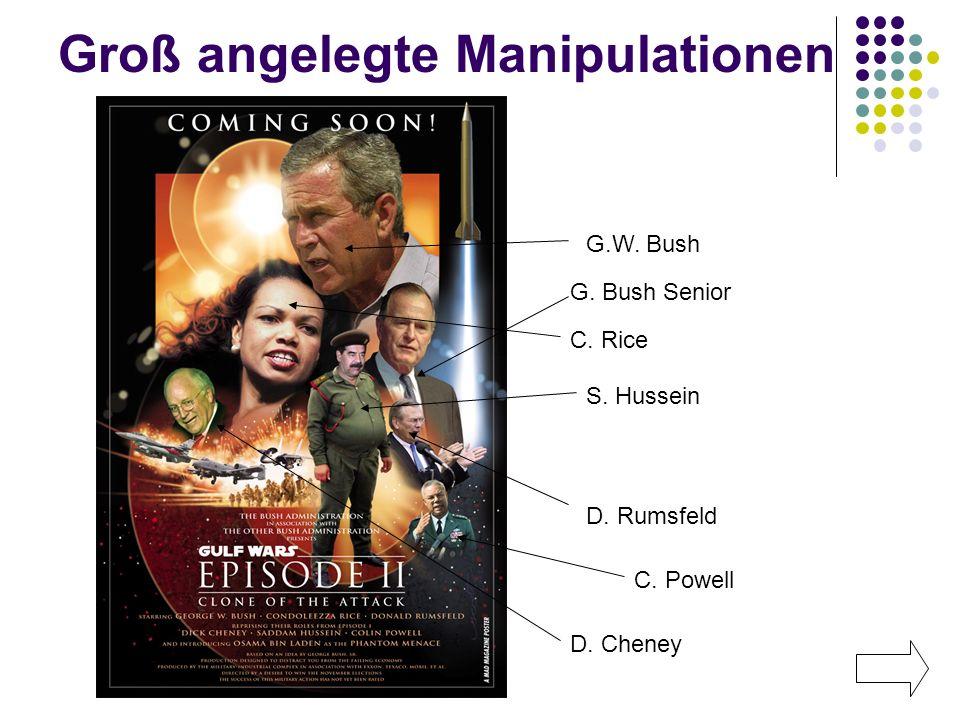 Groß angelegte Manipulationen G.W. Bush C. Rice S. Hussein D. Rumsfeld G. Bush Senior C. Powell D. Cheney