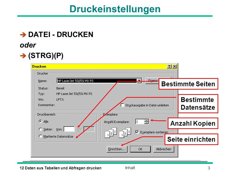 312 Daten aus Tabellen und Abfragen druckenInhalt Druckeinstellungen è DATEI - DRUCKEN oder (STRG)(P) Bestimmte Seiten Bestimmte Datensätze Anzahl Kopien Seite einrichten