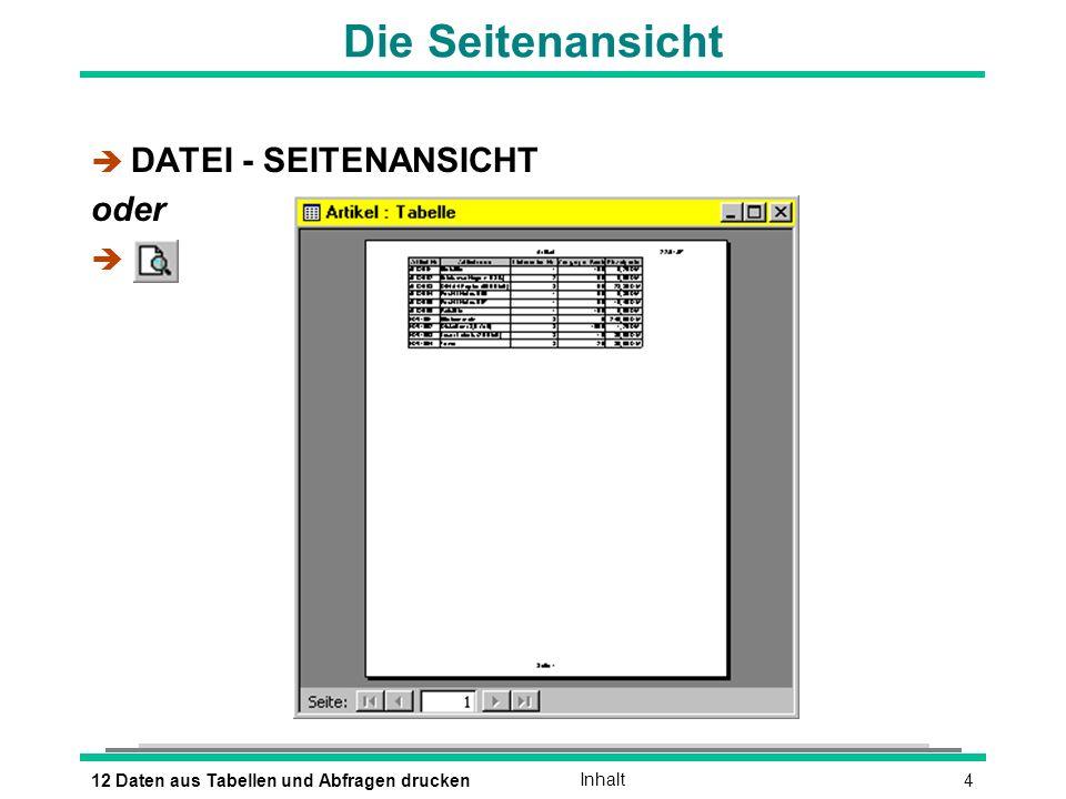 412 Daten aus Tabellen und Abfragen druckenInhalt Die Seitenansicht è DATEI - SEITENANSICHT oder è