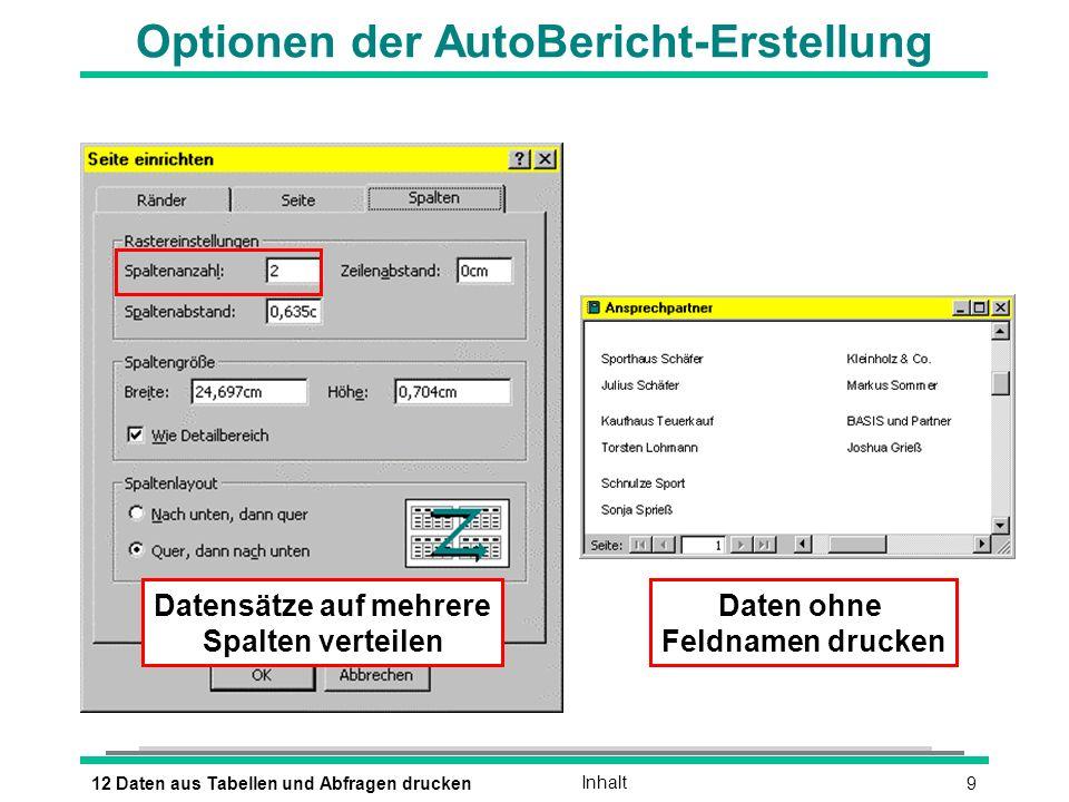912 Daten aus Tabellen und Abfragen druckenInhalt Optionen der AutoBericht-Erstellung Datensätze auf mehrere Spalten verteilen Daten ohne Feldnamen drucken