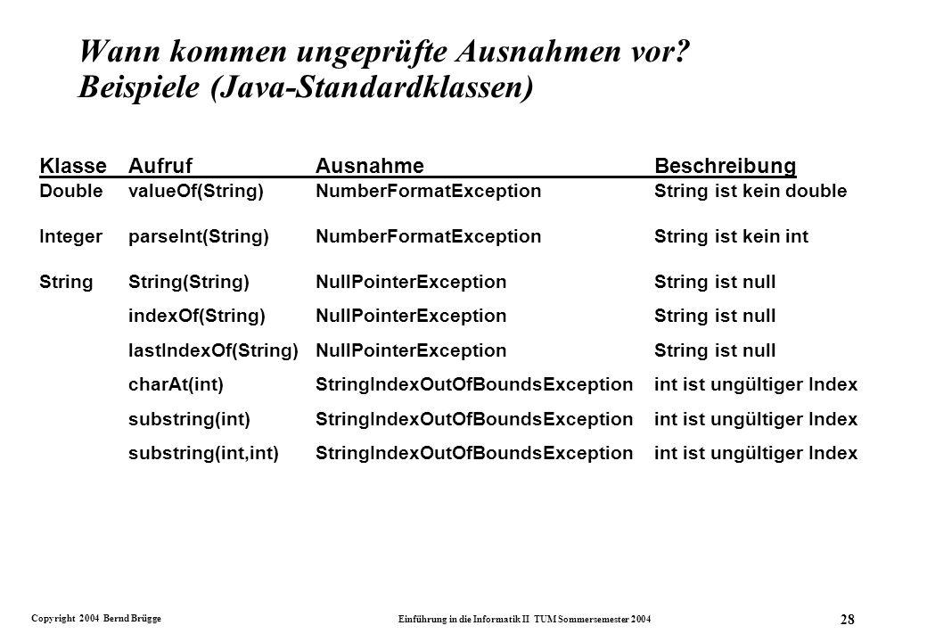 Copyright 2004 Bernd Brügge Einführung in die Informatik II TUM Sommersemester 2004 28 Wann kommen ungeprüfte Ausnahmen vor.