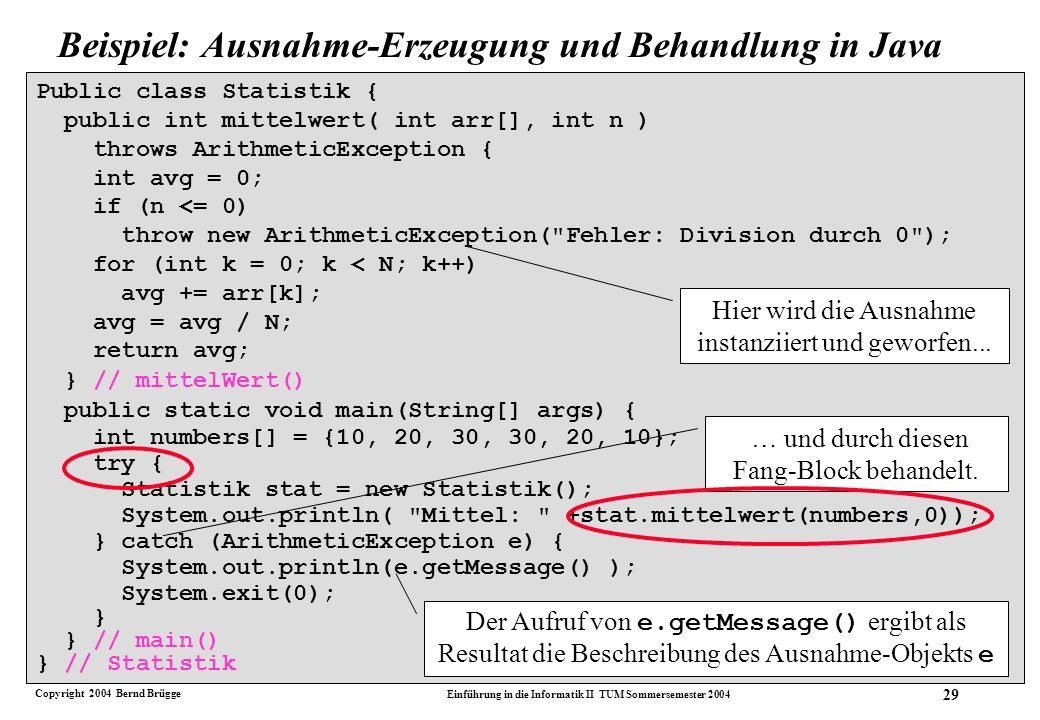 Copyright 2004 Bernd Brügge Einführung in die Informatik II TUM Sommersemester 2004 29 Public class Statistik { public int mittelwert( int arr[], int n ) throws ArithmeticException { int avg = 0; if (n <= 0) throw new ArithmeticException( Fehler: Division durch 0 ); for (int k = 0; k < N; k++) avg += arr[k]; avg = avg / N; return avg; } // mittelWert() public static void main(String[] args) { int numbers[] = {10, 20, 30, 30, 20, 10}; try { Statistik stat = new Statistik(); System.out.println( Mittel: +stat.mittelwert(numbers,0)); } catch (ArithmeticException e) { System.out.println(e.getMessage() ); System.exit(0); } } // main() } // Statistik Hier wird die Ausnahme instanziiert und geworfen...