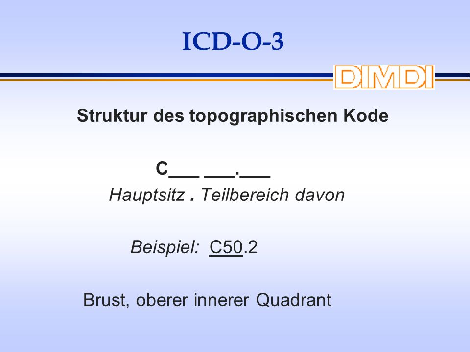 ICD-O-3 Struktur des topographischen Kode C___ ___.___ Hauptsitz. Teilbereich davon Beispiel: C50.2 Brust, oberer innerer Quadrant