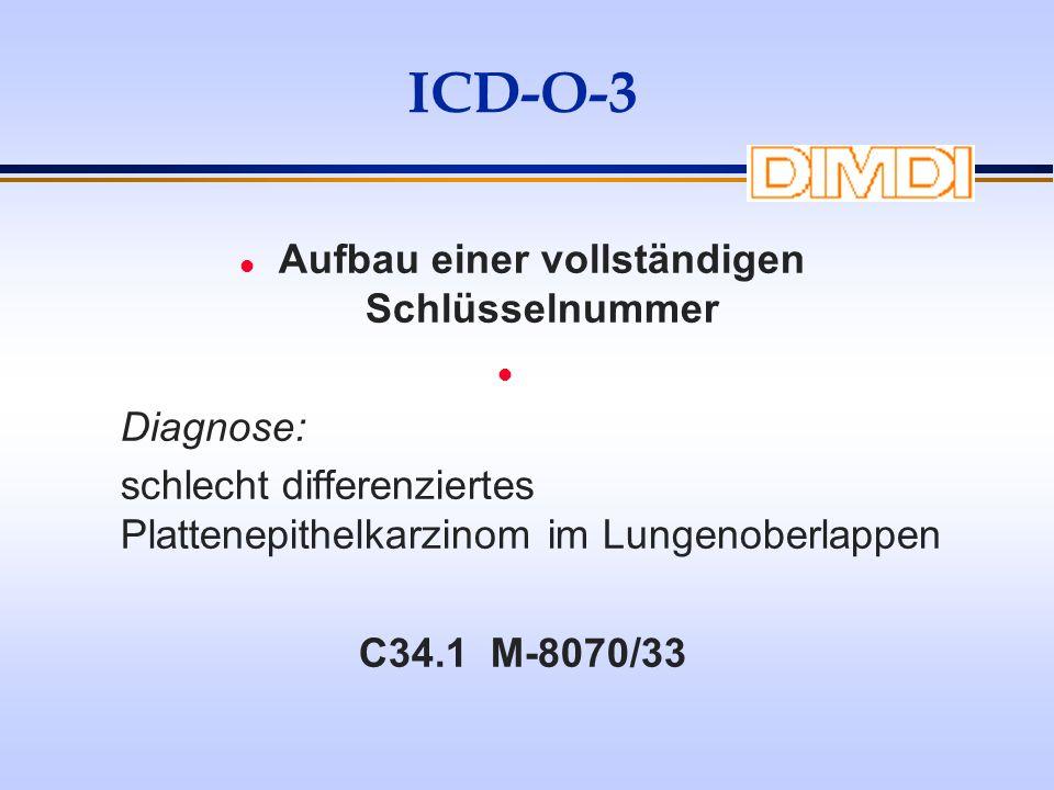 ICD-O-3 l Aufbau einer vollständigen Schlüsselnummer l Diagnose: schlecht differenziertes Plattenepithelkarzinom im Lungenoberlappen C34.1 M-8070/33