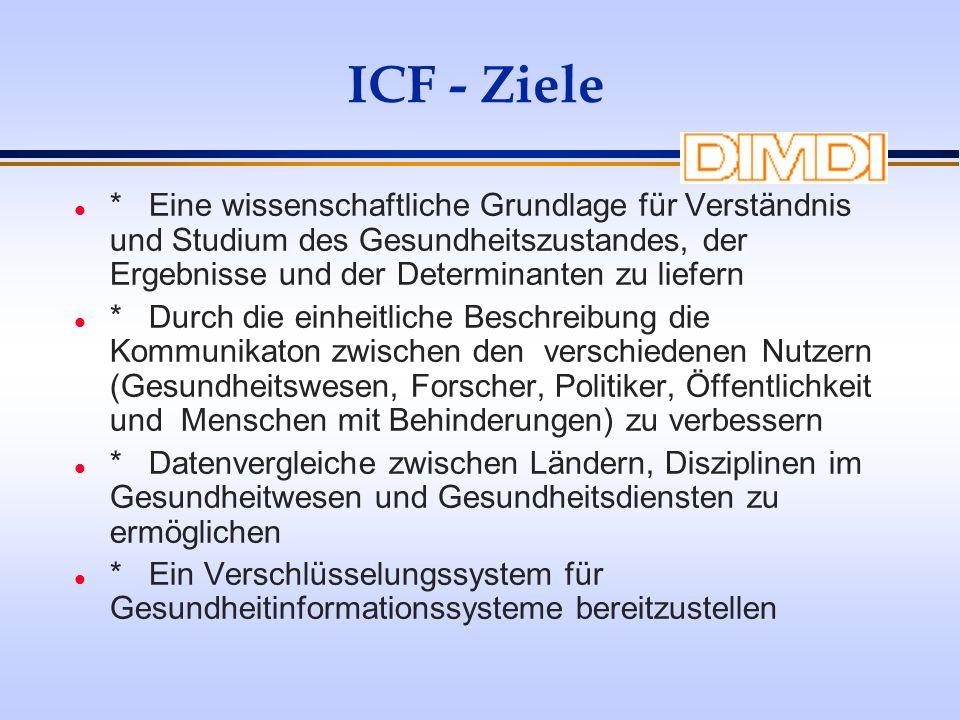 ICF - Ziele l * Eine wissenschaftliche Grundlage für Verständnis und Studium des Gesundheitszustandes, der Ergebnisse und der Determinanten zu liefern