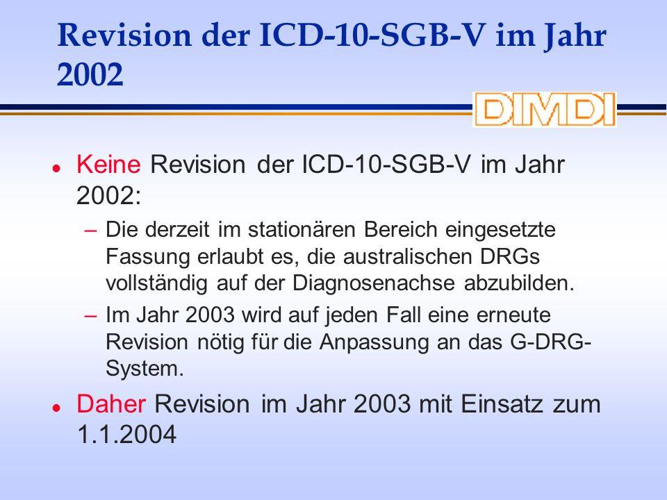 Revision der ICD-10-SGB-V im Jahr 2002 l Keine Revision der ICD-10-SGB-V im Jahr 2002: –Die derzeit im stationären Bereich eingesetzte Fassung erlaubt