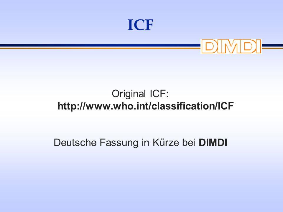 ICF Original ICF: http://www.who.int/classification/ICF Deutsche Fassung in Kürze bei DIMDI