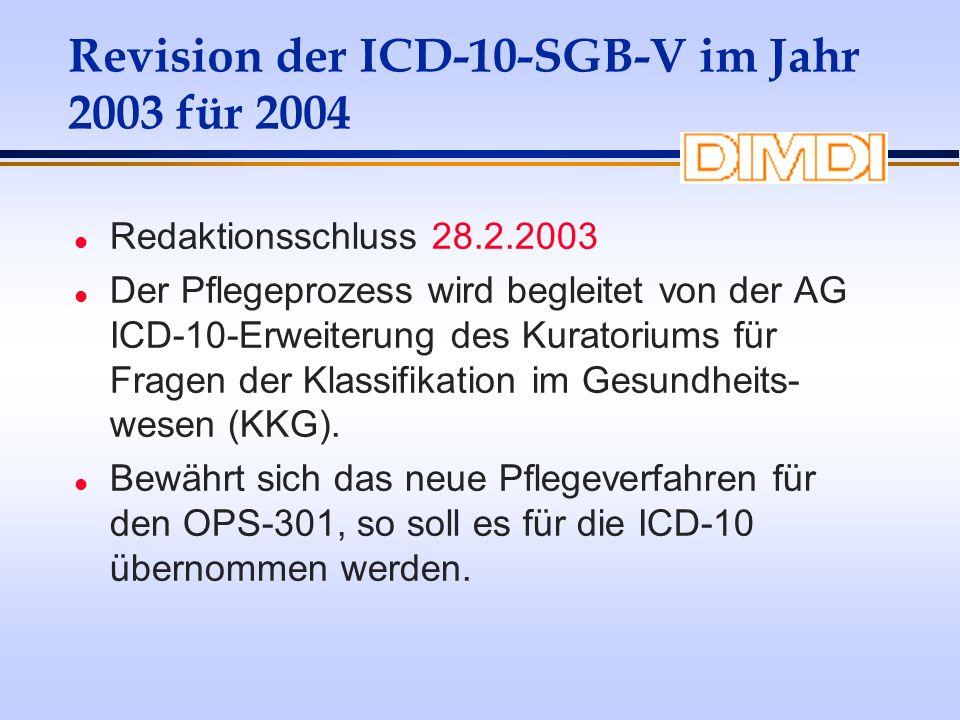 Revision der ICD-10-SGB-V im Jahr 2003 für 2004 l Redaktionsschluss 28.2.2003 l Der Pflegeprozess wird begleitet von der AG ICD-10-Erweiterung des Kur