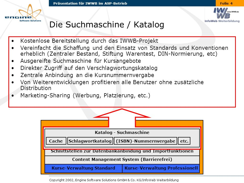 Folie 5Präsentation für IWWB im ASP-Betrieb Copyright 2002, Engine Software Solutions GmbH & Co.