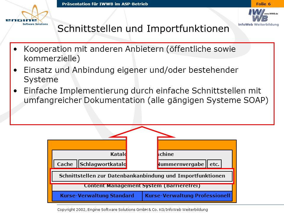 Folie 6Präsentation für IWWB im ASP-Betrieb Copyright 2002, Engine Software Solutions GmbH & Co.