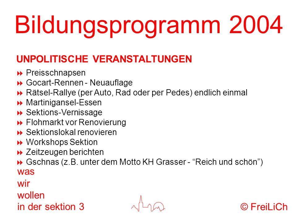 Bildungsprogramm 2004 was wir wollen in der sektion 3 Preisschnapsen Gocart-Rennen - Neuauflage Rätsel-Rallye (per Auto, Rad oder per Pedes) endlich e
