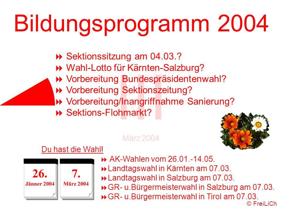 Bildungsprogramm 2004 III März 2004 AK-Wahlen vom 26.01.-14.05. Landtagswahl in Kärnten am 07.03. Landtagswahl in Salzburg am 07.03. GR- u.Bürgermeist