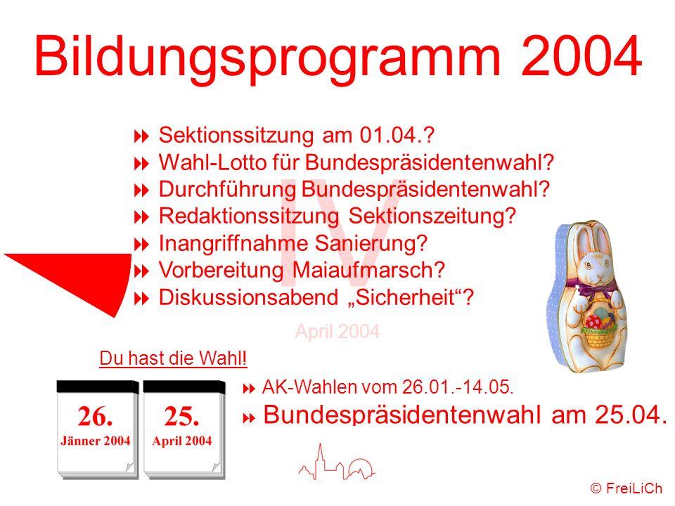 Bildungsprogramm 2004 IV April 2004 © FreiLiCh Sektionssitzung am 01.04.? Wahl-Lotto für Bundespräsidentenwahl? Durchführung Bundespräsidentenwahl? Re