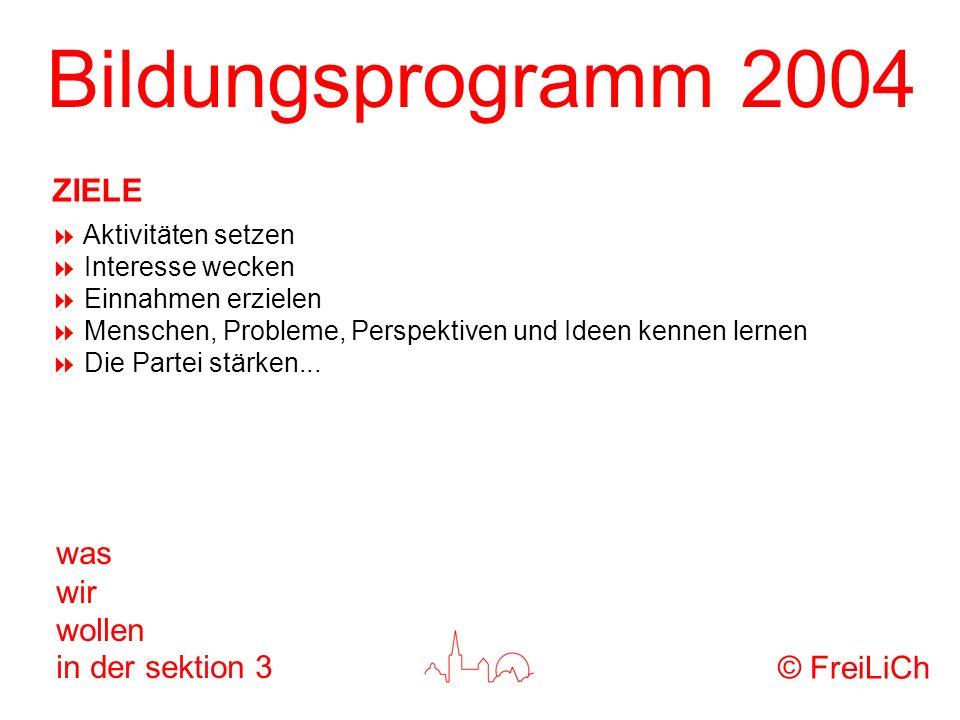 Bildungsprogramm 2004 was wir wollen in der sektion 3 Aktivitäten setzen Interesse wecken Einnahmen erzielen Menschen, Probleme, Perspektiven und Idee