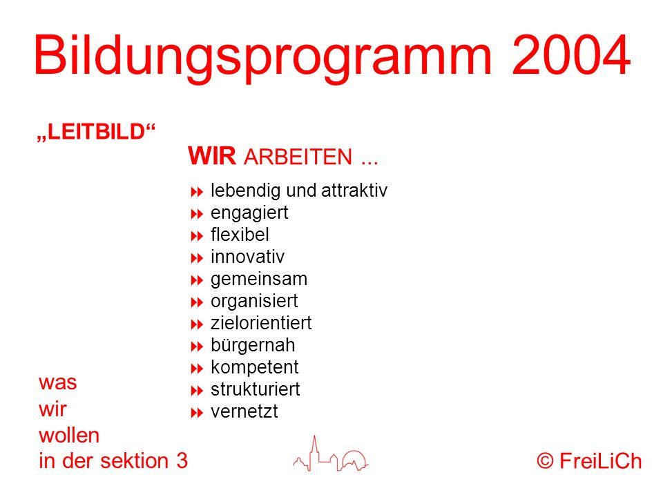 Bildungsprogramm 2004 was wir wollen in der sektion 3 lebendig und attraktiv engagiert flexibel innovativ gemeinsam organisiert zielorientiert bürgern